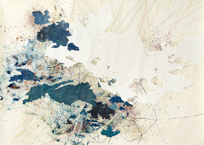 Graphite, ink, and collage on paper, 67 1/2 x 94 inches (171.5 x 238.8 cm)