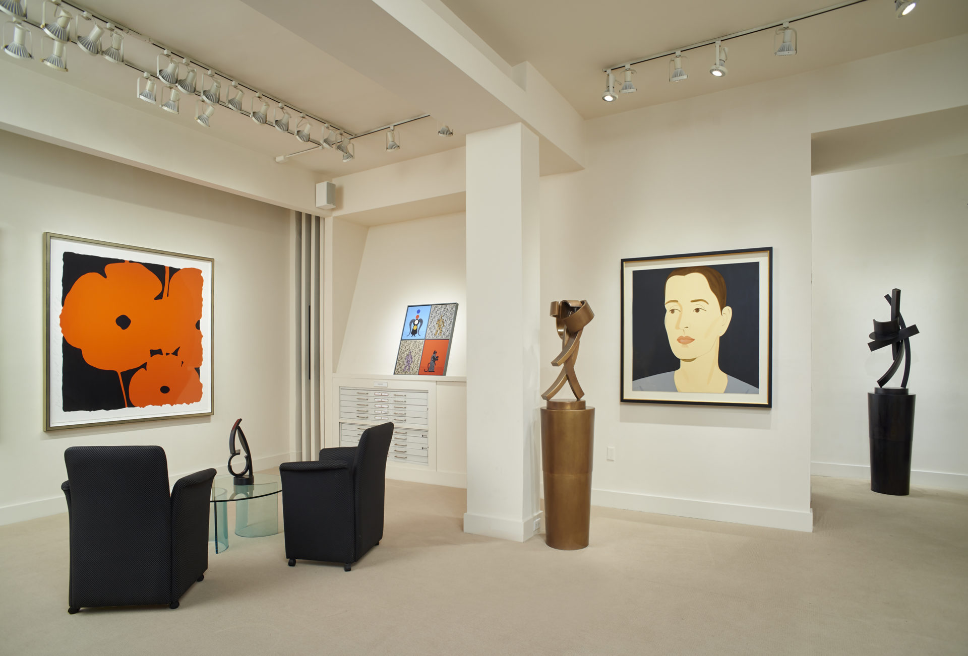 Installation at Meyerovich Gallery with Donald Sultan, Grisha Bruskin, Guy Dill and Alex Katz