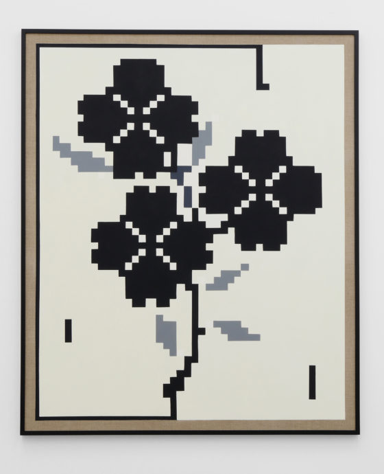 Flowers, 2016, Oil and acrylic on canvas, wood frame, 73 x 61 in, 185.4 x 154.9 cm