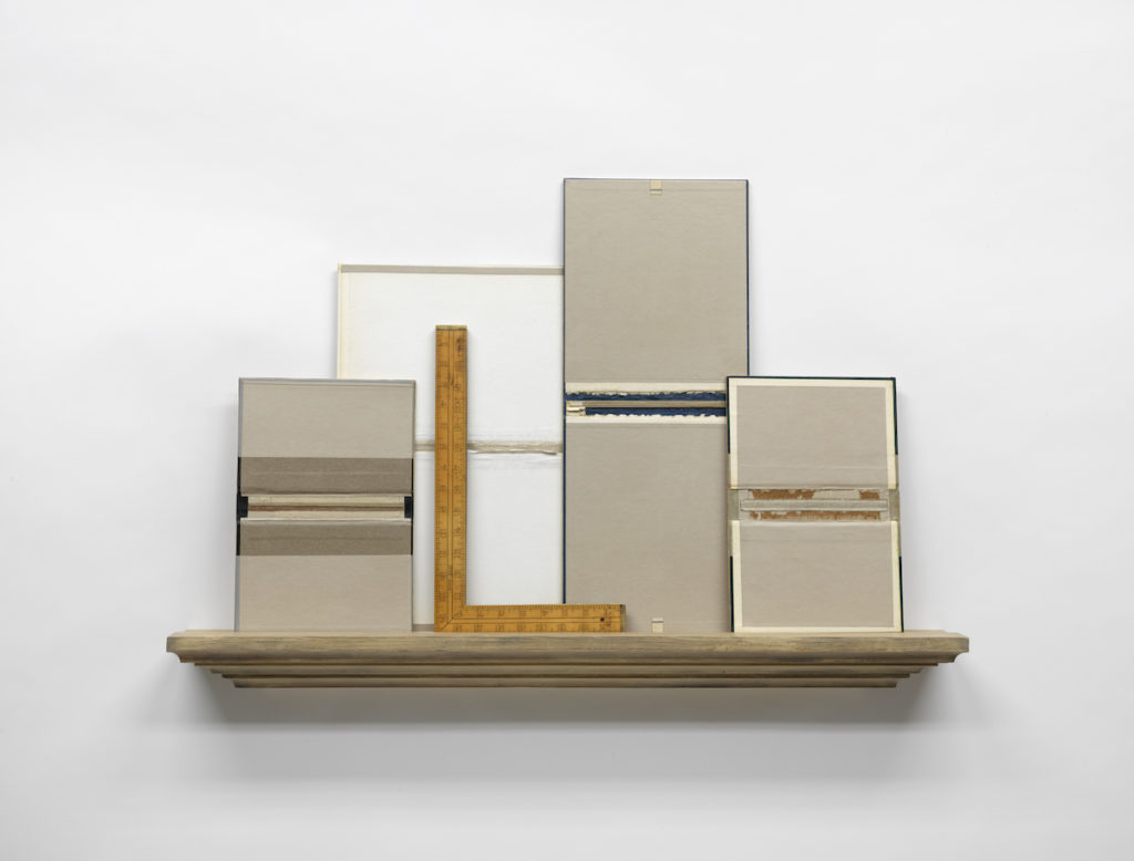 """2016, graphite, acrylic, graphite wash, mixed media collage on four panels, wall shelf construction, found object mounted to wood, 25.5 x 38 x 5.5"""""""