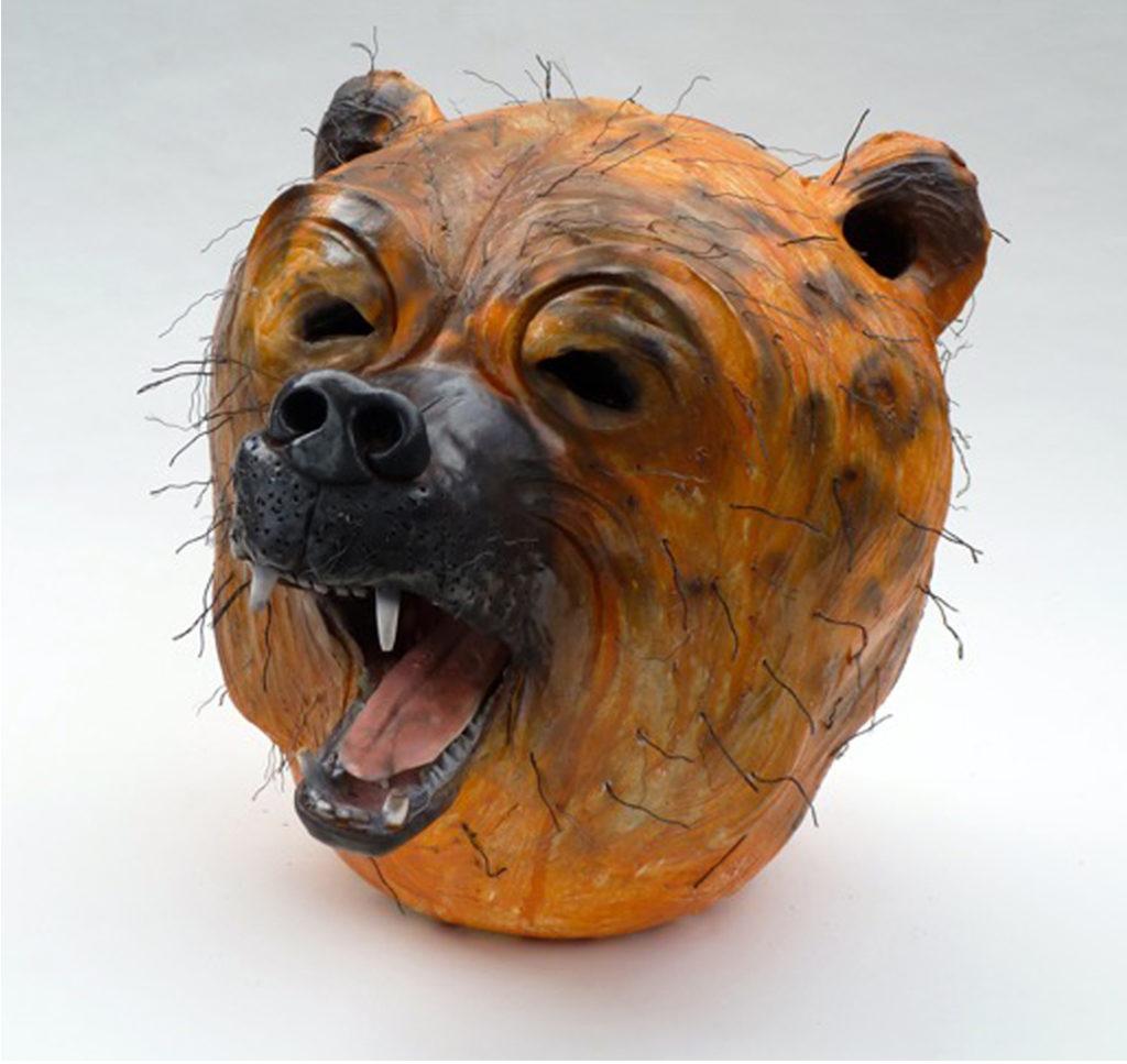 "Bear, low fire ceramic, smoked Terra sigillata, mixed media, 14x14x16"""