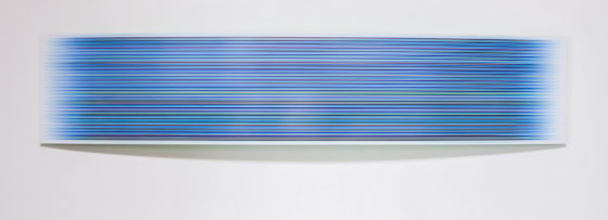 Tom Bolles, Blue Bow, pigment print under plexi, mounted on sintra board - 18 x 86 inches
