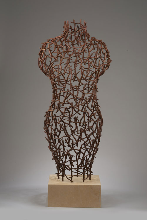 fabricated copper with patina, 41 x 17 x 11 inches