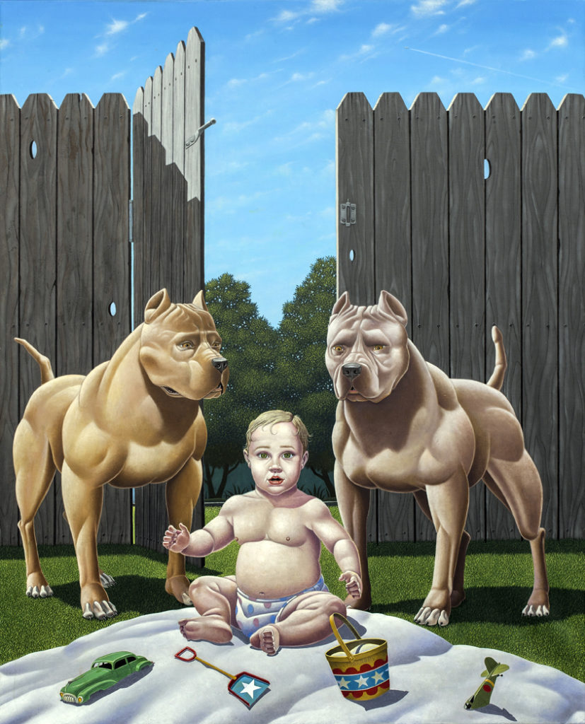 Who Let the Dogs Out?,  oil on canvas, 43x35""