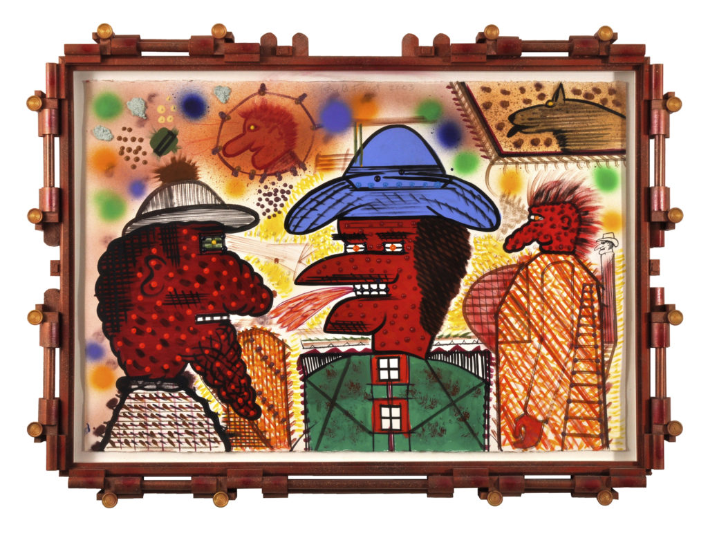 Untitled, 2003, mixed media on paper, artist designed frame, 38 x 52 inches